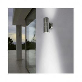 APPLIQUE MURALE LED GU10 X2 INOX IP44